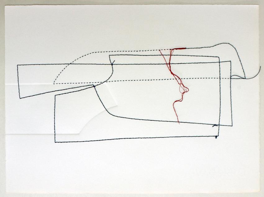 zonas en diálogo 27/14.2 ii | dibujo costura / intaglio | 28 x 38 cm | 2014