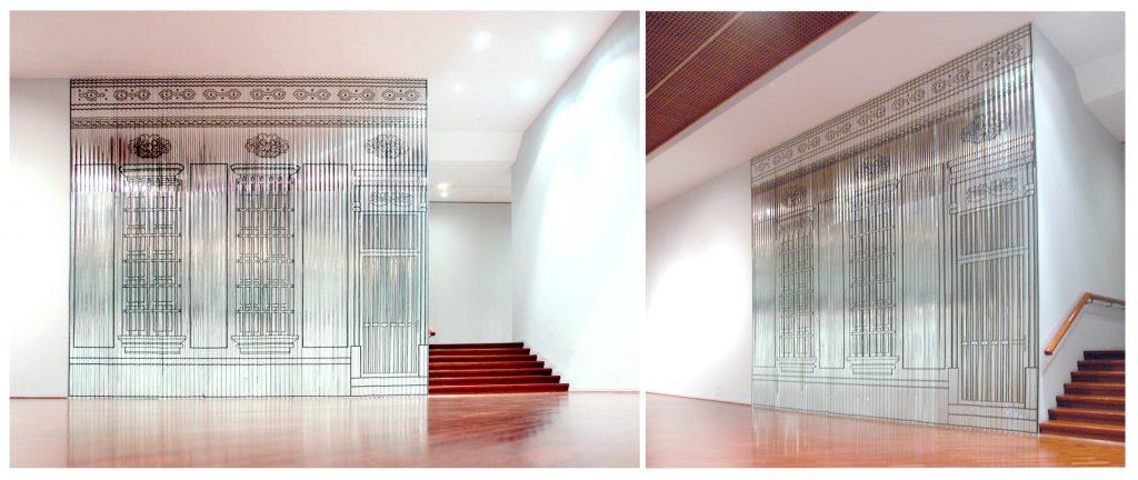 espacios revatidos | intervención en espacio públicos | santa cruz de la sierra, bolivia | láminas de zinc y tape negro | 700 x 550 cm | 2009