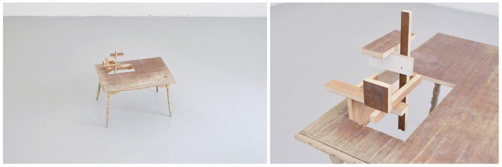 como ser escultura y seguir siendo una mesa? | mesa de madera intervenida | 120 x 90 x 70 cm | 2013