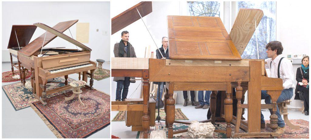 representación de un piano | proyecto conformado por mesas, sillas, alfombras, dibujos-partituras, música, video, performance | 2010-2016